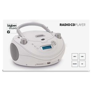 RADIO CD CASSETTE LECTEUR RADIO CD PORTABLE MP3 USB BLANC MAT