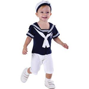 chapeau bébé combi ensembles Bébé garçons marin blanc bleu marine à manches courtes ANGE