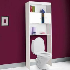 COLONNE - ARMOIRE WC Meuble étagère por toilette - Bois blanc - H178 cm