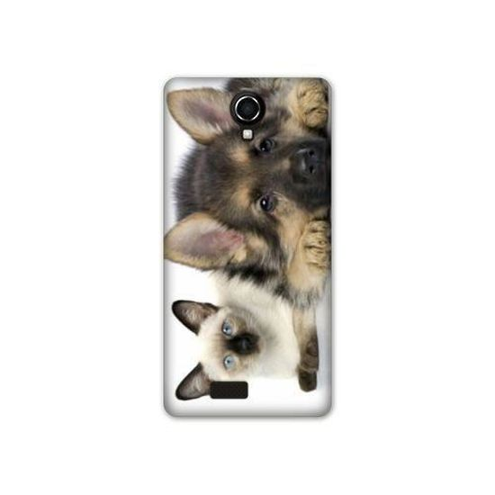 coque Wiko tommy2 / tommy 2 animaux 2 taille unique Chien Vs Chat B