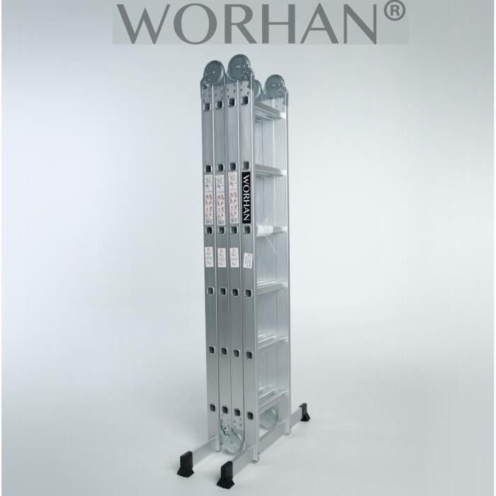 WORHAN® 6.3m Échelle Aluminium Multifonction Polyvalente Escabeau Multi-usage ALU Modulable Pliable