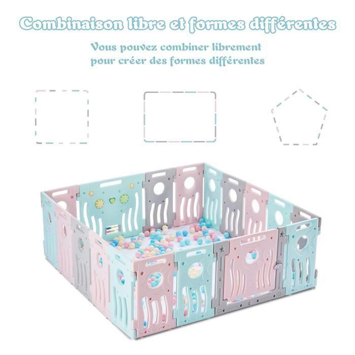 LONTEK Parc de jeu bébé – intérieur et extérieur – 18 panneaux