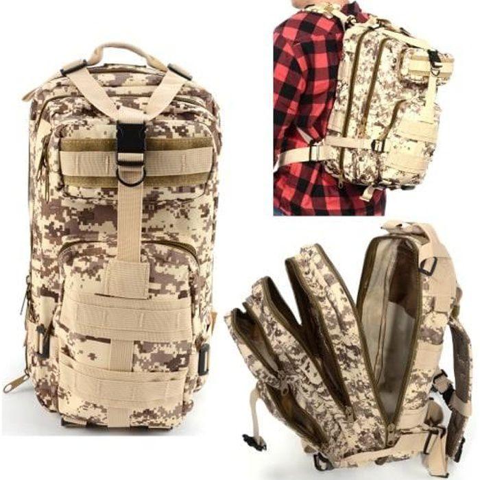 Sac à Dos Tactique Extensible 3P 800D 40L Backpack Technique Randonnée Camouflage Multi-Poche Motif Mosaïque pour Homme Femme