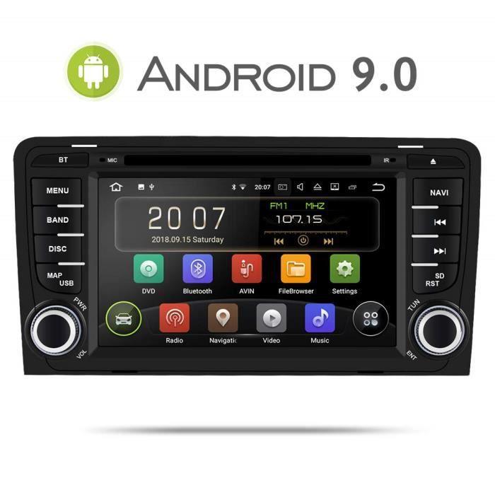 Aumume Android 9.0 Autoradio Gps Dvd pour Audi A3 S3 Navigation de Voiture Ecran Tactile supporte Bluetooth Mirrorlink Dab+ 2585