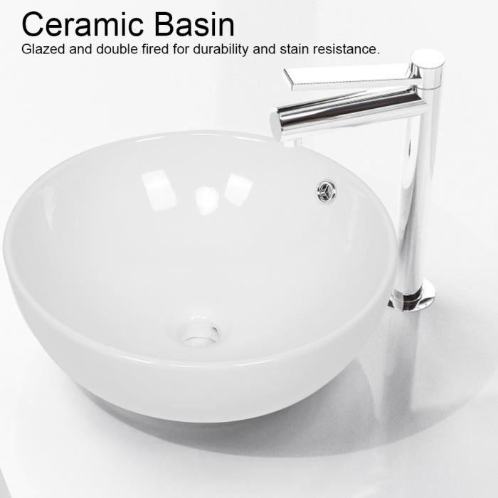 XIX Vasque à poser ronde, Style élégant en Céramique Moderne Lavabo Meuble de Salle de Bain Blanche #2