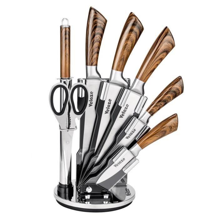 Velaze Couteaux de Cuisine Ensemble de 8 Pièces, Couteau de Chef Professionel en Acier Inoxydable avec Aguiseur et Cisseau