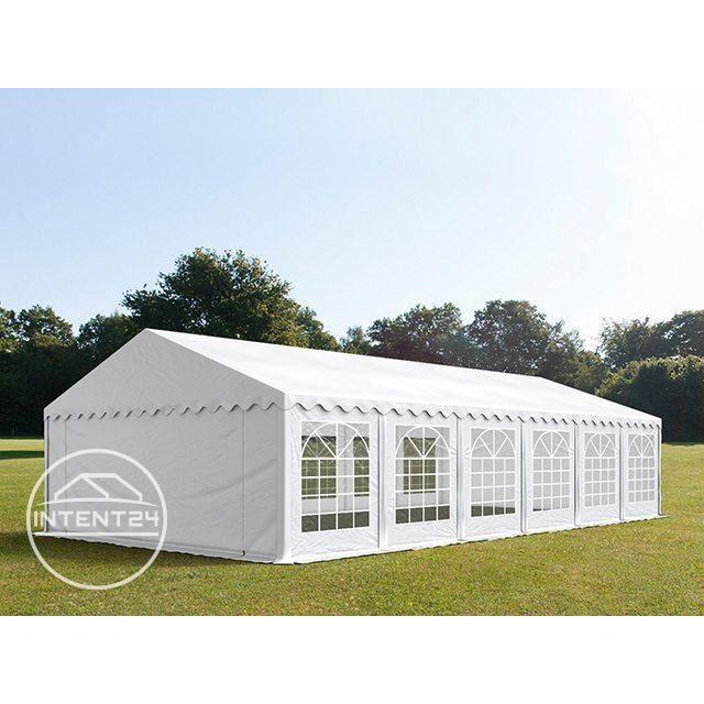 TOOLPORT tente de réception 6x12 m barnum tonnelle PVC env. 500g/m² blanc imperméable 6x12m