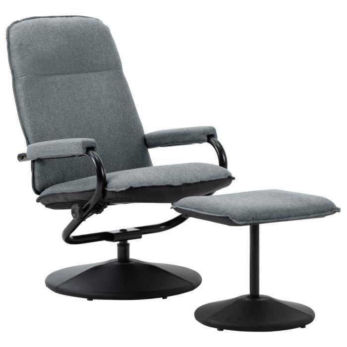 Fauteuil de relaxation inclinable - Classique - 60 x 80 x 98,5 cm confort Fauteuil TV - avec repose-pied Gris clair Tissu
