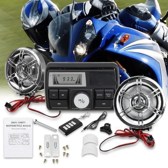 Haut-Parleurs Stéréo Bluetooth Étanche Anti-Vol Moto Audio MP3 Radio FM USB Système Moto L53667