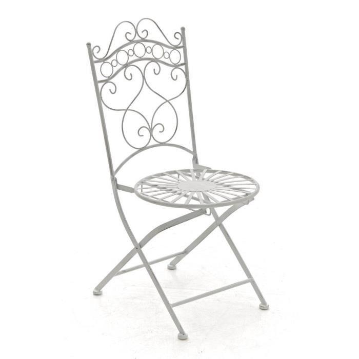 CLP Chaise nostalgique pliable INDRA, en fer forgé, chaise en fer style nostalgique, ultra-élégant, 6 couleurs au choix92 cm - bl...