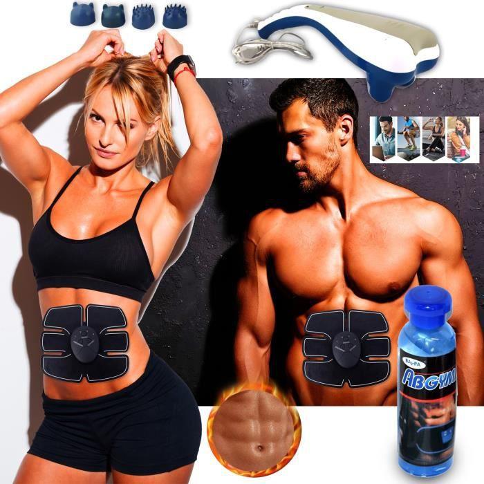 Ceinture Abdominale Amincissante - Fonte de Graisse + Appareil de massage Top Body challenge Sport Fitness + 2 Gels minceur