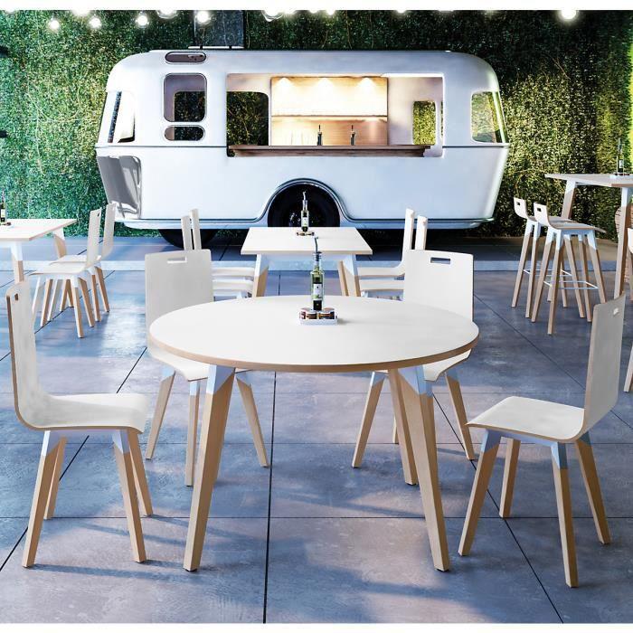 EOL - Table ronde Evasion ø 120 cm -Plateaux Stratifié blanc - table appoint scandinave bois blanc métal design déco plateau