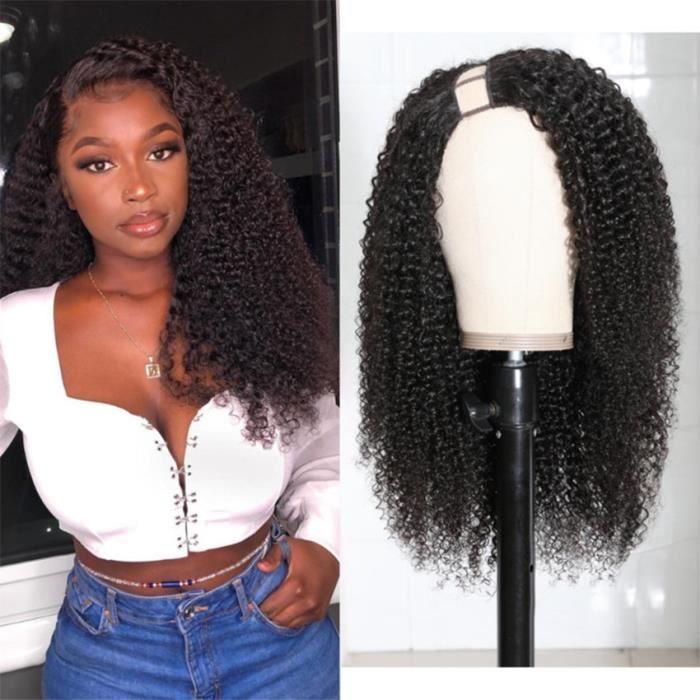 18-Sans Colle U Partie Perruque Afro Crépus Bouclés Cheveux Humains Moyen Ouvert U Forme Perruques Puruvien Remy Cheveux