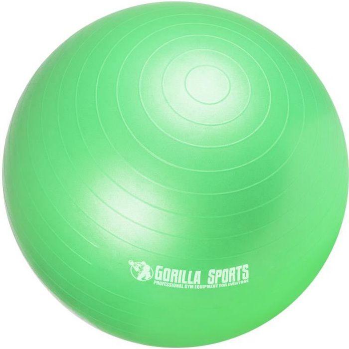 Ballon de gymnastique de couleur vert mat - Taille : 75 cm