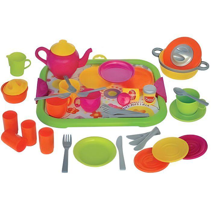 Service Dinette plastique avec plateau 40 pieces - Jeu d'imitation enfant - Cuisine