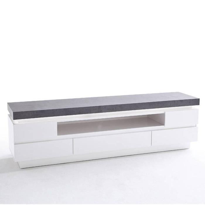 Meuble TV design ATLANTA laqué blanc mat et imitation béton 5 tiroirs LED inclus blanc Bois Inside75