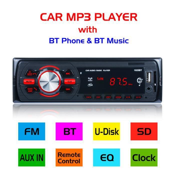 Lecteur Multimédia de Voiture Stéréo FM Radio 1025BT Car MP3 Player Autoradio MP3/Bluetooth/USB + Télécommande