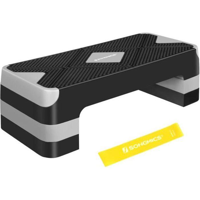SONGMICS Step de fitness, Stepper d'aérobic, réglable sur 3 hauteurs (10-15-20 cm), Marche d'exercice, Noir et Gris STE684G01