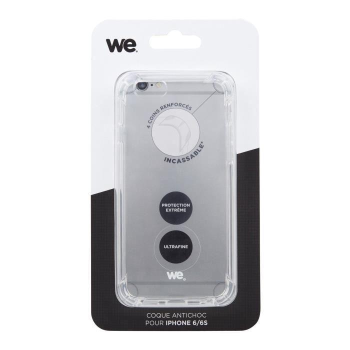WE Coque pour iPhone 6 et 6s - Anti-choc - Transparente