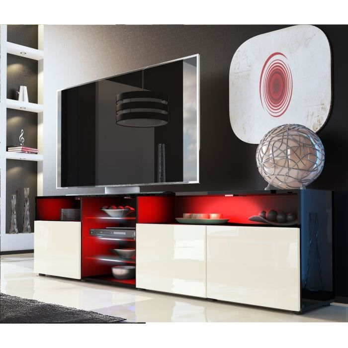meuble tv noir et cr me avec tag re vitr e achat vente meuble tv meuble tv noir et cr me. Black Bedroom Furniture Sets. Home Design Ideas