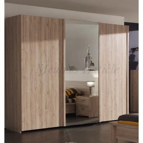 armoire 3 portes coulissantes mona ch ne achat vente. Black Bedroom Furniture Sets. Home Design Ideas