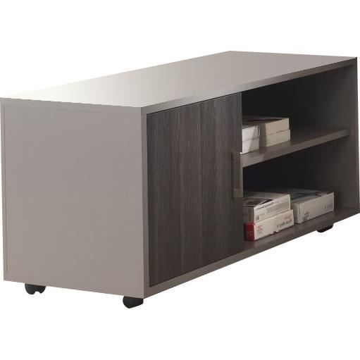 meuble pour bureau roulettes coloris gris et ch ne anthracite achat vente petit meuble. Black Bedroom Furniture Sets. Home Design Ideas