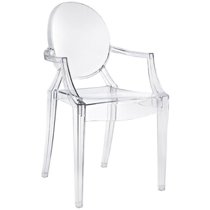Lot De 2 Chaises Design Inspiree Louis Ghost Kartell Philippe Starck