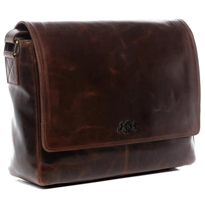 De luxe vrai vintage en cuir Messenger Homme Ordinateur portable professionnel mallette sacoche sac