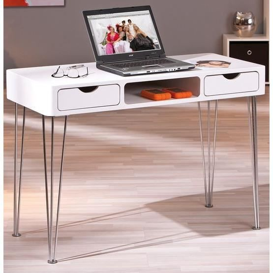 Bureau blanc simple 2 tiroirs ludus achat vente bureau for Bureau simple blanc