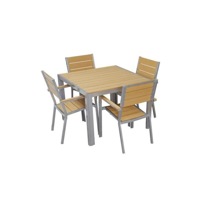 table et chaises de terrasse jardin 4 places carr e achat vente salon de jardin table et. Black Bedroom Furniture Sets. Home Design Ideas