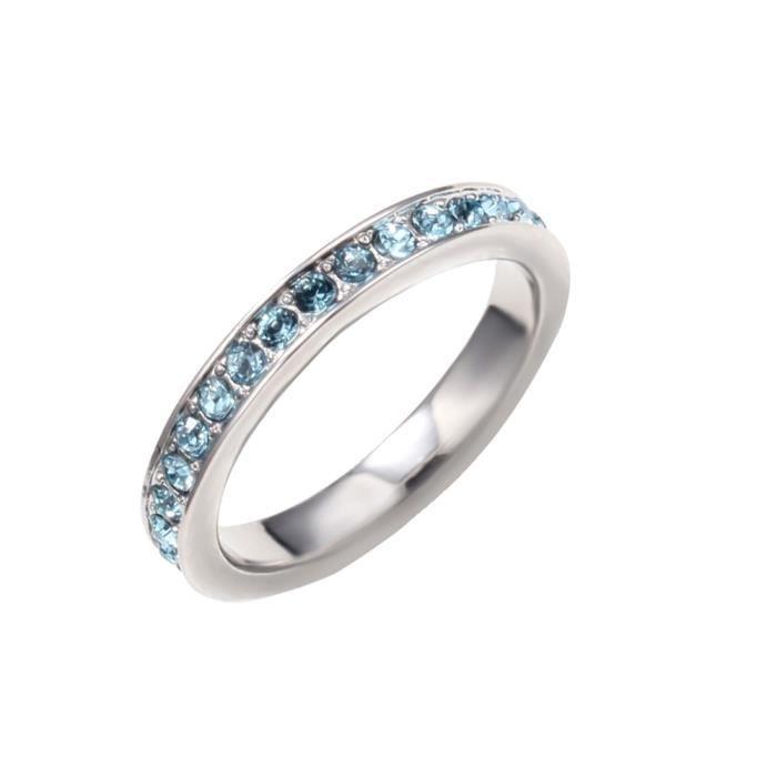 Bague Alliance orné de cristaux de Swarovski Bleue