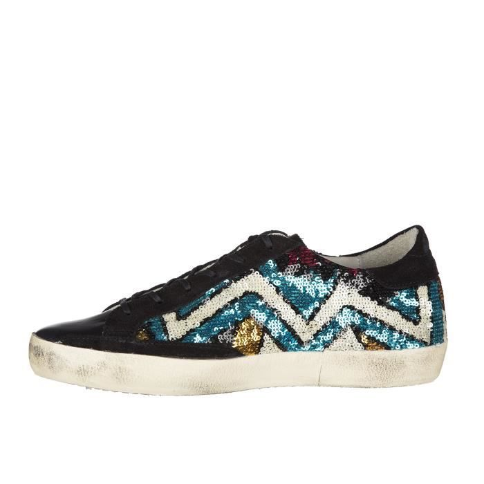 Chaussures baskets sneakers femme en daim superstar pailettes Golden Goose