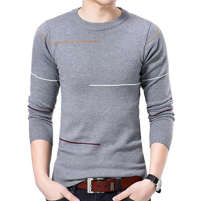 Mode Hommes Chaud Pull Tricot Manches Longues Solide Slim Pull Haut