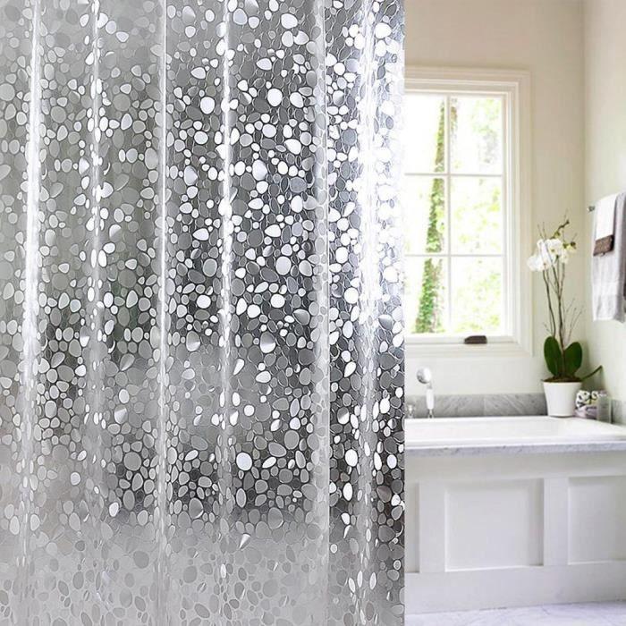 3D Rideau de Douche Salle De Bain Avec 12 Crochets imperméable à l/'eau claire 180cmx180cm 180x200cm