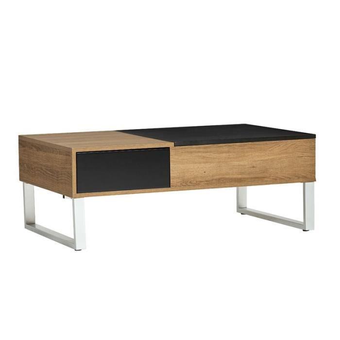 TABLE BASSE Table basse relevable Bois/Noir - PIERRE - L 110 x