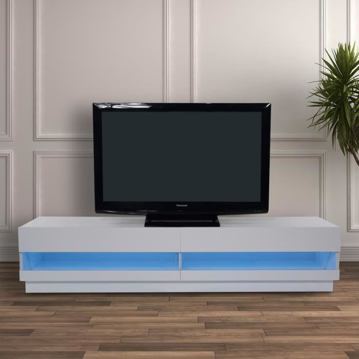 Meuble tv bas design contemporain double placard verre for Placard design contemporain