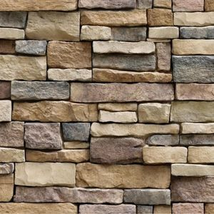 Nouveaux blocs de briques Muriva Imitation mur de pierre en relief soufflé vinyle papier peint lavable