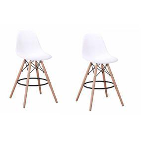 TABOURET DE BAR Lot 2 tabourets de bar blancs - chaise haute loung