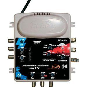 REPETEUR DE SIGNAL Amplificateur distributeur TV et FM 2 entrées/6…