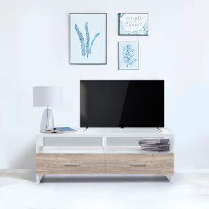 MEUBLE TV Meuble TV FALKO bois blanc et imitation hêtre