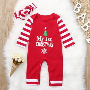 ac04e5184e544 Ensemble de vêtements Infant Lettre de Noël Imprimer Striped Romper + Ju ...