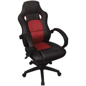 CHAISE DE BUREAU Chaise de bureau en cuir artificiel Rouge Fauteuil