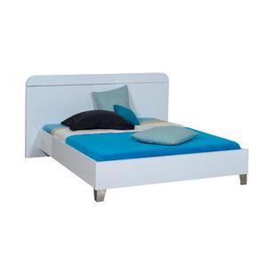 STRUCTURE DE LIT Cadre de lit + Tête de lit 180*200 Laqué Blanc - U