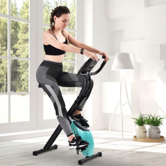 Vélo d'appartement X-Bike Pliable 120kg - 8 Niveaux Réglable de Resistance pour Cardio et Fitnesse - Bleu