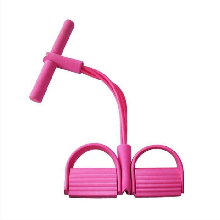 Jetcco Corde de Tension, 4 Cordes de pédale, Tube Bandes d'exercice de Musculation, Expander pour Le Gymnase à la Maison Rose