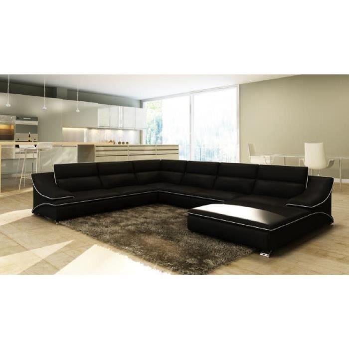 Canapé d'angle panoramique modulable en cuir noir et blanc STON