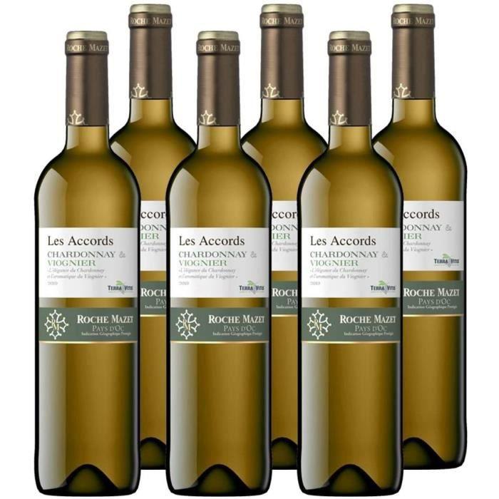 Les Accords de Roche Mazet - Chardonnay Viognier - IGP Pays d'Oc - Vin Blanc - Millésime 2019 - Terra Vitis - Lot de 6 bouteilles x
