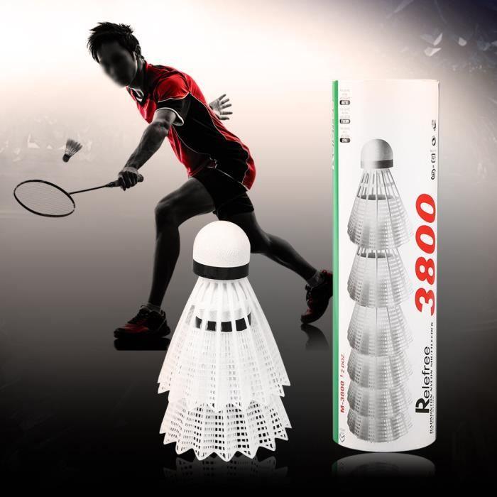 Drfeify 6pcs Ballon de badminton en plumes d'oie blanche Volants Sport Jeu d'entraînement -OLL
