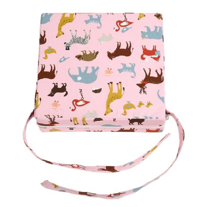 Siège Réhausseur Bébé Siège Enfant-aide Réglable Démontable Portable Coussin de Chaise Booster Animal Rose