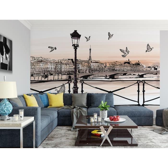 Papier peint finition satiné pré-encollé -Dessin coucher de soleil sur la Seine, Pont des arts, Paris- L, 411 x H, 270 cm